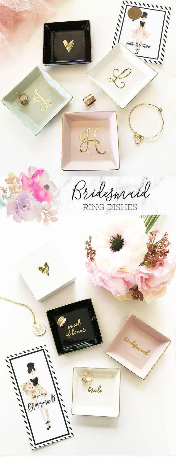 Bridesmaid Gift Ideas Jewelry Dish Personalized Ring Dish Personalized Bridesmaid Gifts for Bridesmaids Maid of Honor Gift Ideas  (EB3180SM)