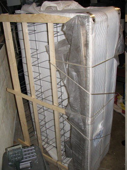 How to: Fold your box spring in half so it will be able to fit through stairwells, around corners, etc.!  Thank goodness I found this! We couldn't get ours downstairs