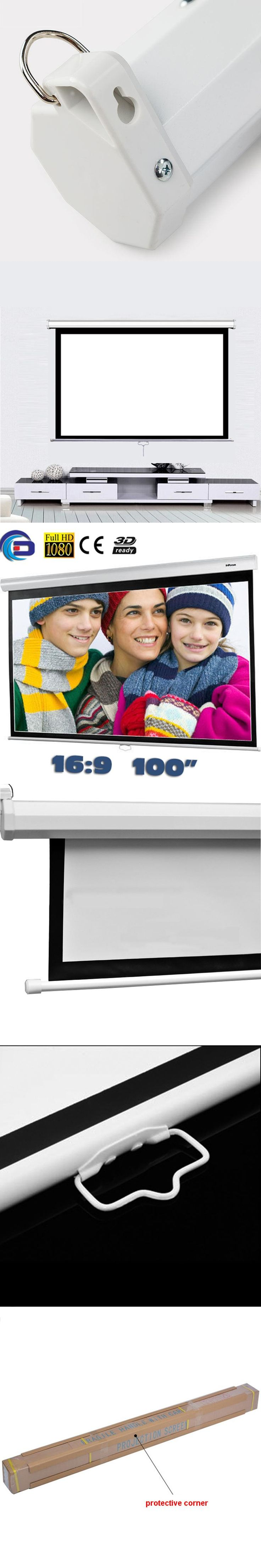 100 inch 16:9 Manual self-locking Projection Screen matt White pantalla proyeccion for HD projector Pull Down Movie Screens
