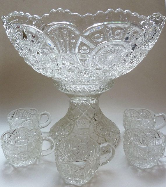 EAPG Punch Bowl and 10 Cups - Antique Glass Punch Bowl and Pedestal - Ten Matching Cups - Victorian Pressed Glass Punch Bowl and Cups-