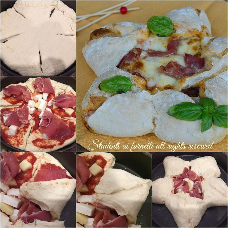 passo passo ricetta stella di pizza farcita con prosciutto crudo e mozzarella ricetta per natale centrotavola