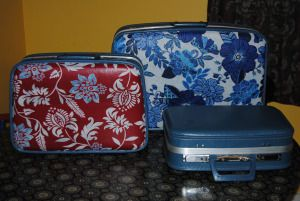 Decoupage vintage suitcases with fabric and Mod Podge.  Full Tutorial: On The Upcycle.com