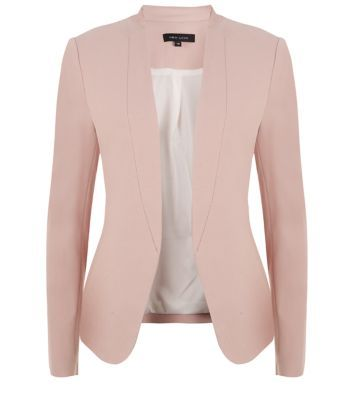 Blush collarless blazer