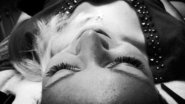 B&W eyelash extensions