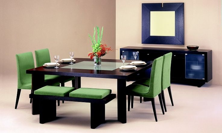 Dining Room : Modern Dining Room Furniture With Elegant Dinning Table And Green Puffy Chair Beside Dark Wood Case As Well As Orange Interior Wall (206) ~ HeimDecor
