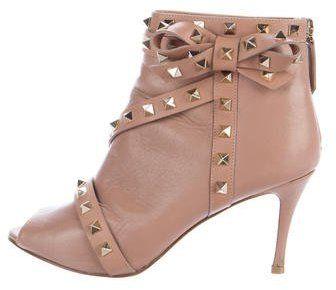 Valentino Rockstud Peep-Toe Boots