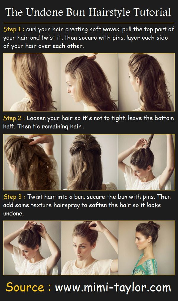 Undone Bun Hair Tutorial        How To :  -  curl your hair creating soft waves. pull the top part of your hair and twist it, then secure ...