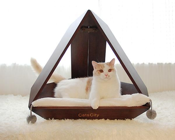 Wooden Pyramid Home Décor Cushion Designer Indoor Cave Pet Bed House For Small Medium Cats Cat Bed Furniture Bed Furniture Cat Bed