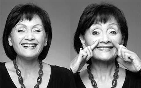 Do facial exercises ;) ( Eva Fraser, 80 years old in the picture )