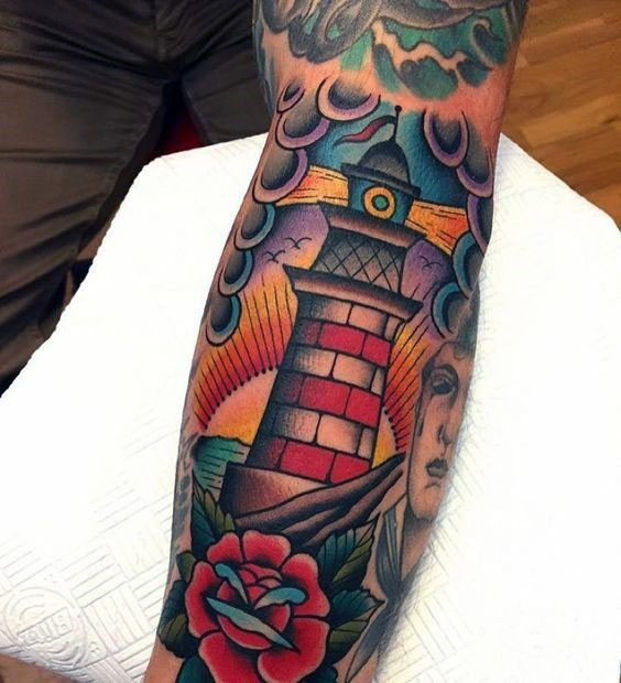 40 Traditional Lighthouse Tattoo Designs for Men – Old School Ideas