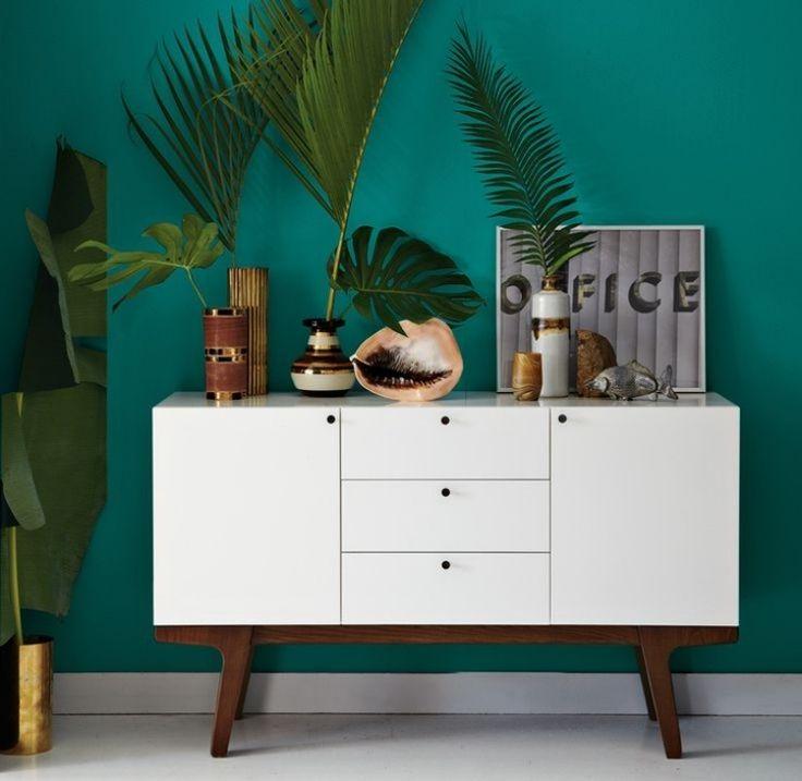 couleur de peinture murale vert canard et commode vintage blanche - Chambre Vert Canard