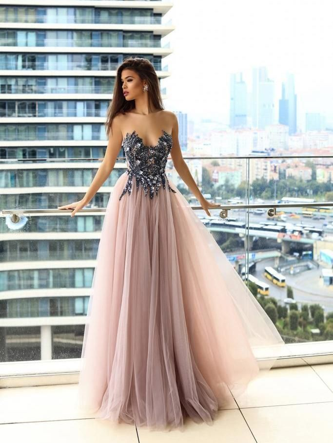 6364155ec2c Sparkly Prom Dresses A-line Floor-length Beading Long Sexy Blush Pink Prom  Dress