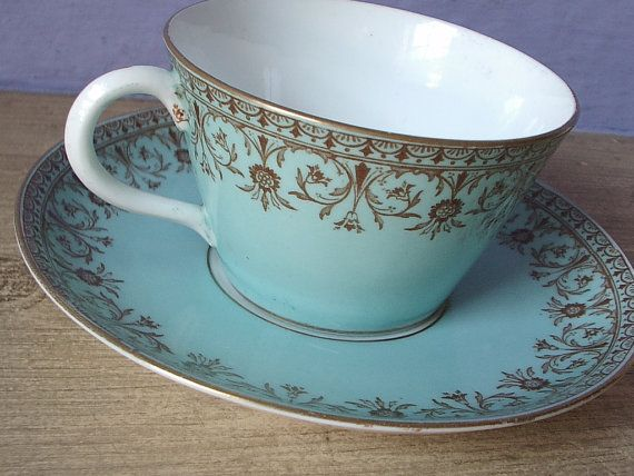 Aynsley tea cup set, vintage 1860s English tea cup and saucer, blue tea cup, brown transferware, victorian tea set