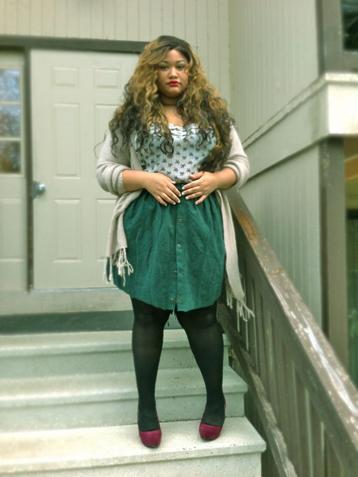 Fashion - body diversity --- cute hair & skirt ... Love color combo