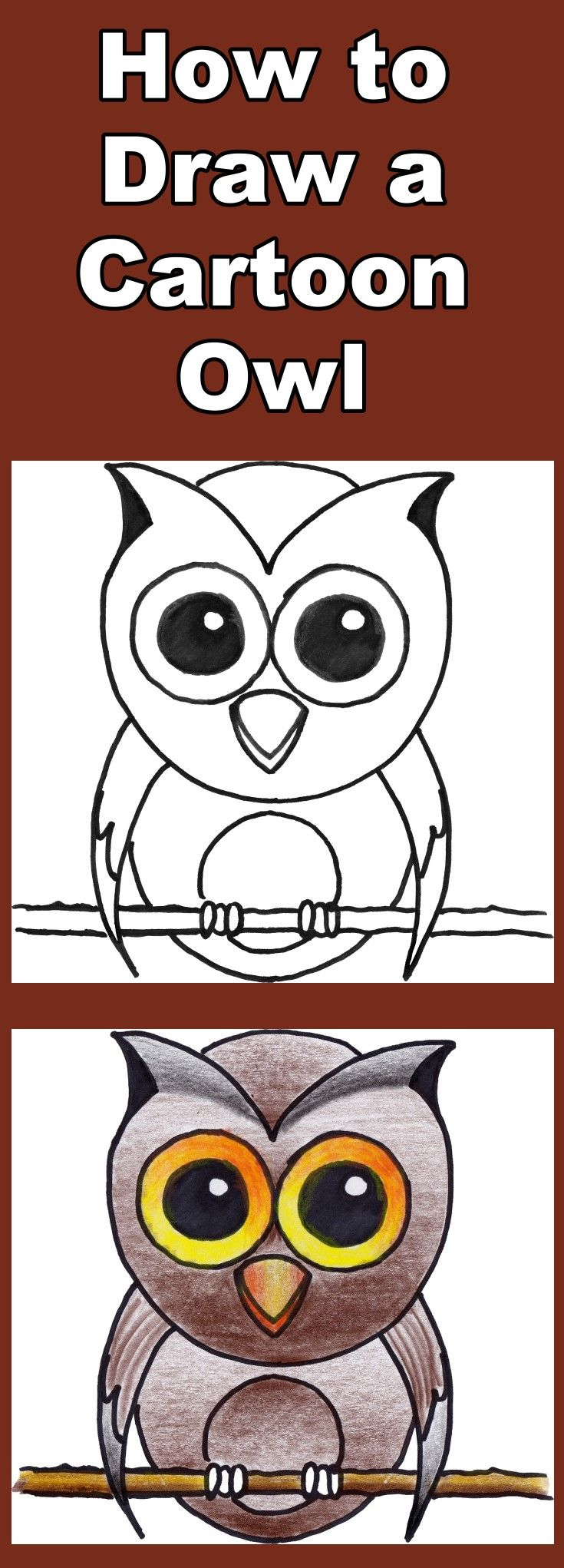 Follow the video as you learn how to draw and then color this wise old cartoon owl. Includes a free downloadable coloring page.