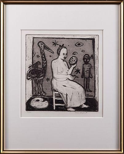 Lena Cronqvist: Interiör med sittande kvinna, etsning, 26x25 cm, edition 35/35 - Bukowskis Market 11/2012