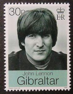 30p postage stamp from Gibraltar featuring John Lennon http://hallicasser-jayne.com/