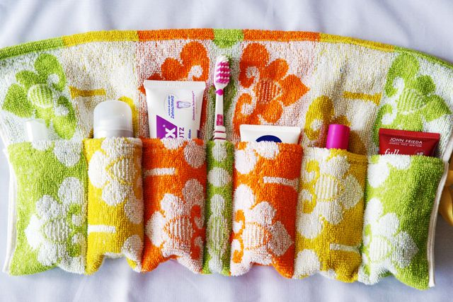 Cute travel bag made from recycled towel - rolls up for travel