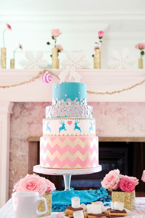 pink chevron cake