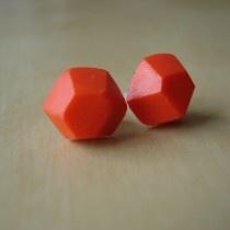 hot coral gem-cut clay studs
