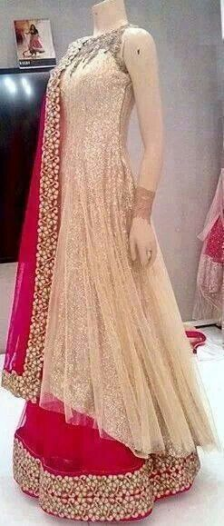Love this color combination! This would make a great reception outfit. #hotpink #beige #lengha