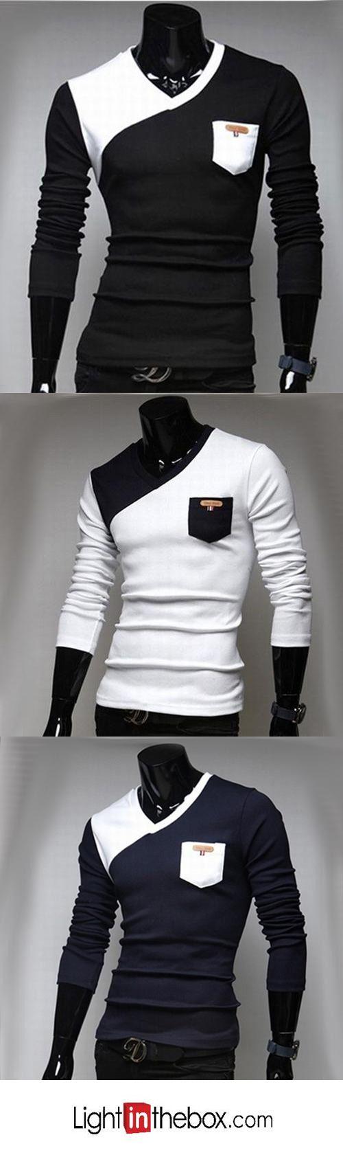 Men's Patchwork Black/White Casual V Neck Long Sleeve Pocket T-shirt
