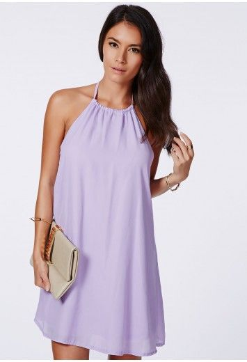 Missguided - Laslie Lilac Strappy Swing Chiffon Dress
