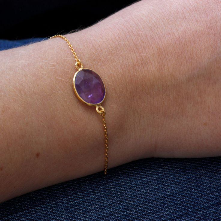 Gold Amethyst Bracelet, Personalized Jewelry, Initial Bracelet, Delicate Design, Gift fir Her by ulalajewels on Etsy