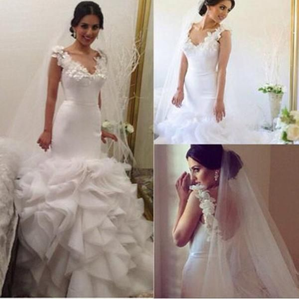 V-neck Appliques Sleeveless Long Mermaid Organza White Wedding Dresses, WD0223