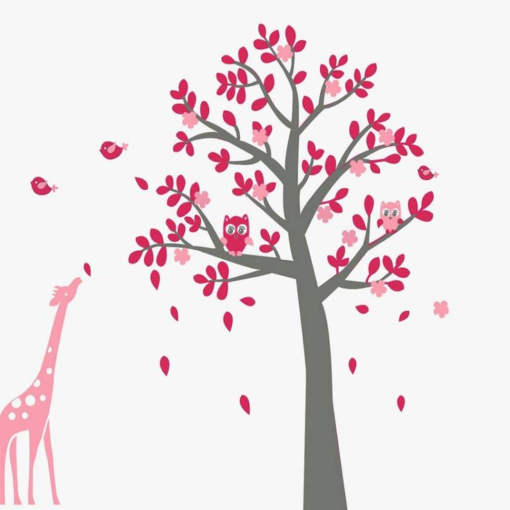 Muursticker grijze boom met uiltjes en giraffe roze