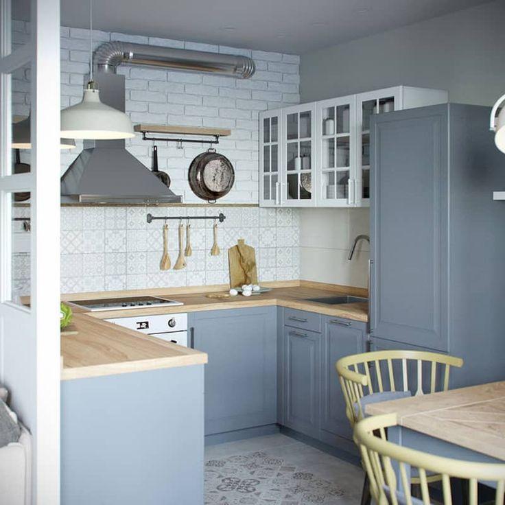 mini appartamento in azzurro, bianco e legno Arredo