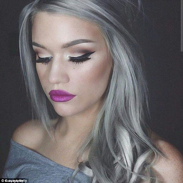 This image posted by Suzy Q Kelly showcases the grey hair trend with dramatic makeup and w...