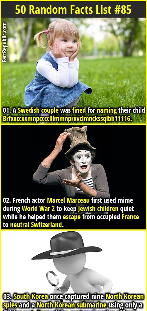 5497328f0bc03 A Swedish couple was fined for naming their child  Brfxxccxxmnpcccclllmmnprxvclmnckssqlbb11116. 2. French actor Marcel Marceau  first used mime during World ...