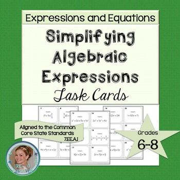 These simplifying algebraic expressions task cards facilitate practice involving the Distributive Property and/or combining like terms.  This…