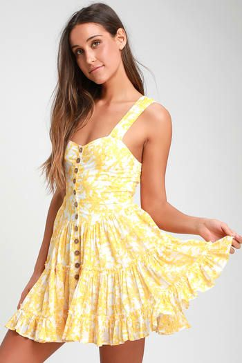 684ea41b78 Dance On the Blacktop Yellow Floral Print Mini Dress. Find a Trendy Women's  Yellow Dress to Light Up a Room ...