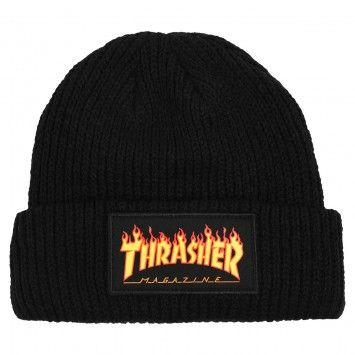 Thrasher Flame Logo Beanie in Black