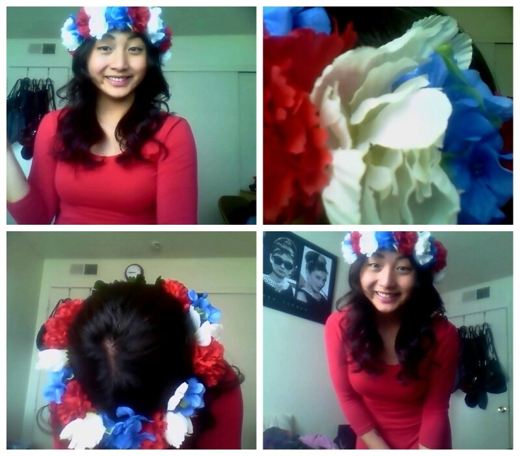 red white and blue flower crown