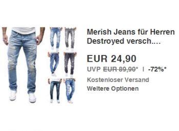 Ebay: Merish-Jeans Destroyed für 24,90 Euro frei Haus https://www.discountfan.de/artikel/klamotten_&_schuhe/ebay-merish-jeans-destroyed-fuer-24-90-euro-frei-haus.php Für einen Tag sind bei Ebay Merish-Jeans Destroyed in zwölf verschiedenen Modellen für 24,90 Euro frei Haus zu haben. Derzeit stehen noch zwölf Längen und Weiten zur Auswahl. Ebay: Merish-Jeans Destroyed für 24,90 Euro frei Haus (Bild: Ebay.de( Die Merish-Jeans für 24,90 Euro frei Haus sind als &... #J