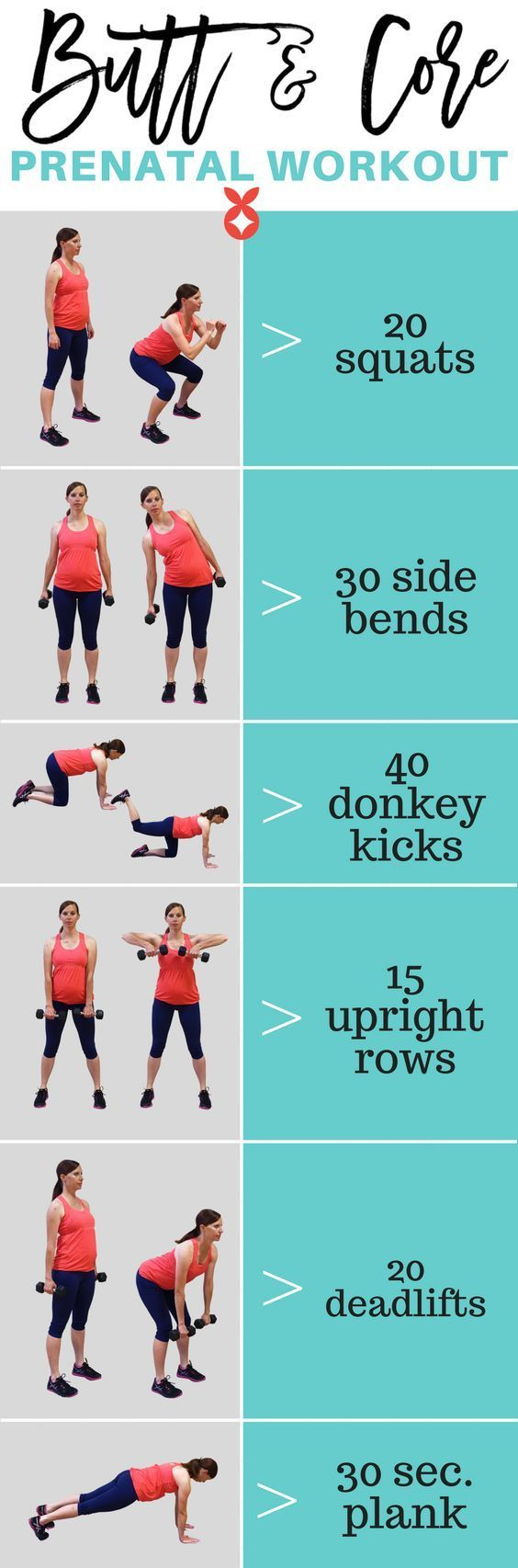 Butt and core pregnancy workout with instructions and photos