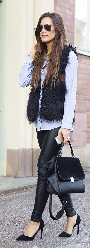 Light Blue And Black Streetstyle