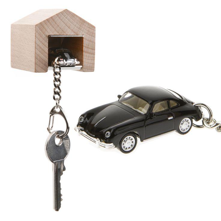 The Design Gift Shop - Porsche 356 Keyring + wall mounted beech wood garage