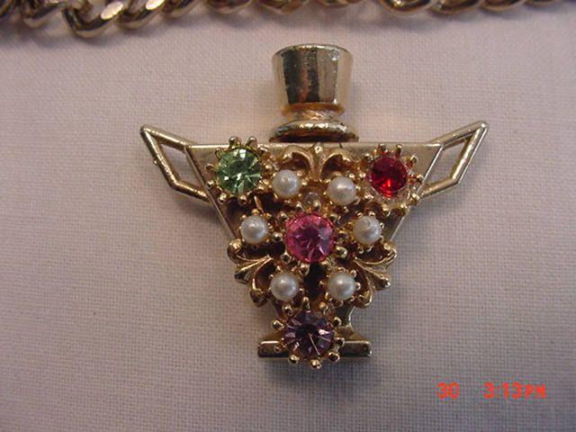 Vintage Rhinestone Bottle Perfume Flask Bracelet  17 - 562 by HardlyAbleStable on Etsy