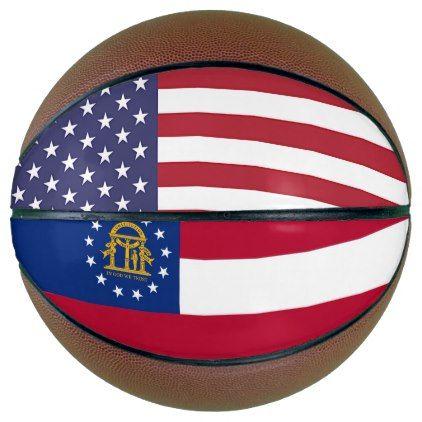 Fullsize Basketball with Flag of Georgia USA - kids kid child gift idea diy personalize design