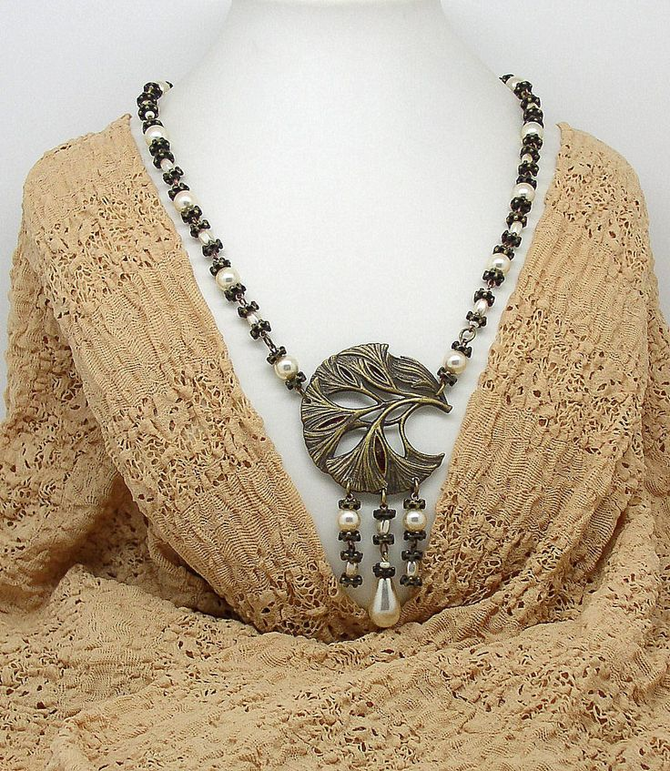 NECK 17 Art Nouveau beautiful stylish necklace by ClassOfGlass on Etsy