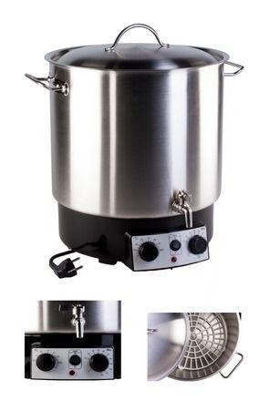 Pasteurizador inox 30 litros con termostato temporizador y grifo envases de vidrio tarros - Grifos con temporizador ...