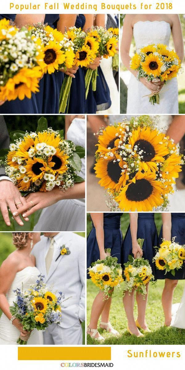 10 Stunning Fall Wedding Bouquets to Match Your Big Day -No.8 Sunflowers #colsbm…