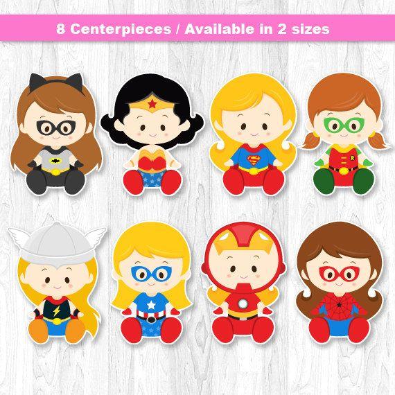 Superhero Baby Girl Centerpiece Superhero baby girl by KidzParty