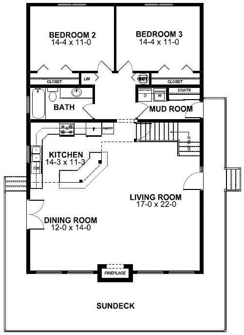 First Floor Plan of A-Frame   House Plan 99962. Main floor plan