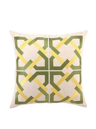 75% OFF Trina Turk Geometric Tile Embroidered Pillow (Green)