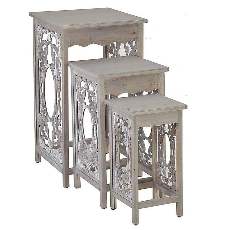 S/3 WOODEN FLOWER STAND IN BEIGE COLOR 45X47X80 - Flower Stands - FURNITURE